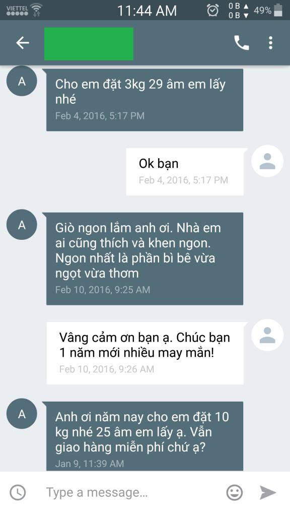 khách hàng khen giò me Nghệ An ngon 2016